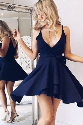 Simple Straps Sleeveless Short V-neck Homecoming Dress_1