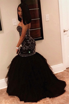 Long Sweetheart Beads Prom Dresses | Mermaid Black Sequins Cheap Formal Gowns FB0275_3