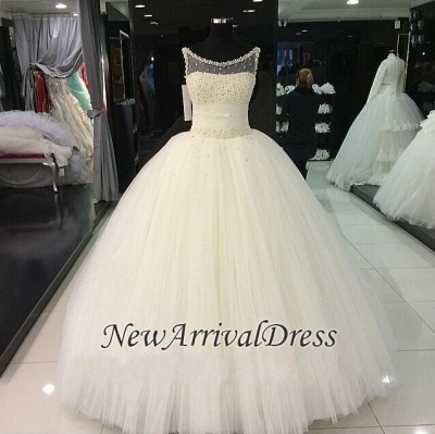 Pearls Beadings Princess Tulle Sleeveless Gorgeous Wedding Dress Cheap_1