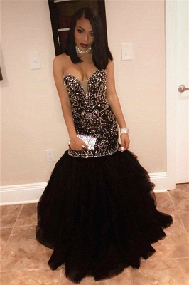 Long Sweetheart Beads Prom Dresses | Mermaid Black Sequins Cheap Formal Gowns FB0275_4