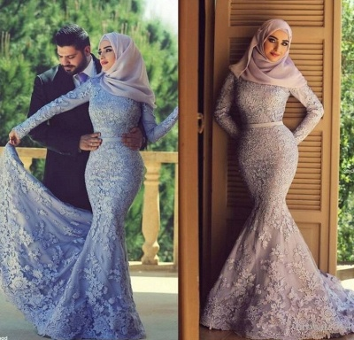 6b0aaafe225 Long Sleeves Lace Mermaid Muslim Prom Dresses Elegant Islamic Evening Gowns   Item Code  D153793205571090
