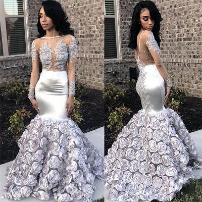 Silver Flowers Long See Through Prom Dresses | Long Sleeve Beads Lace Mermaid Evening Dress FB0371_4