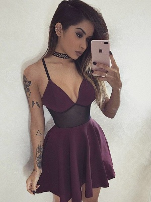 Classic V-Neck Homecoming Dresses   Spaghetti Straps Short Cocktail Dress