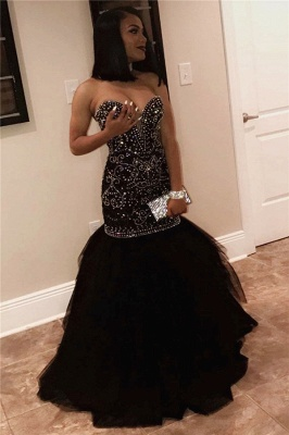 Long Sweetheart Beads Prom Dresses | Mermaid Black Sequins Cheap Formal Gowns FB0275_1