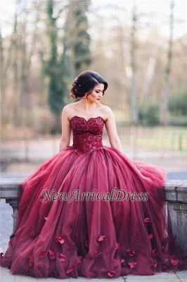 Tulle Sweetheart Appliques 3D-Floral Burgundy Amazing Ball Gown Wedding Dresses_1