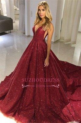Robe de soirée bordée de sequins bordeaux   2020 robes de bal sexy sans manches à col en V_1