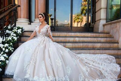 Princess Court Train Glamorous Lace Long Sleeve Wedding Dresses Cheap_4