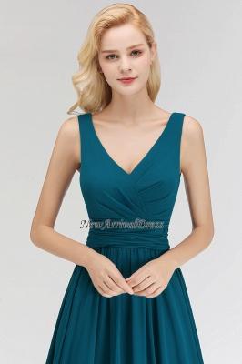 Sleeveless Chiffon Newest A-line Straps Floor-length Bridesmaid Dress_1