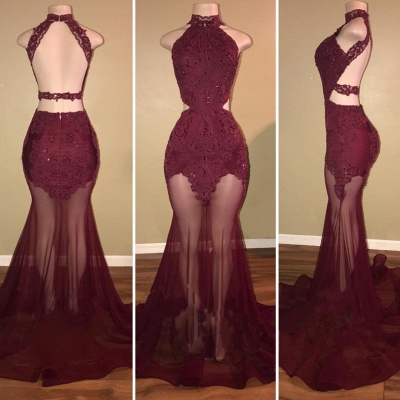 Mermaid Lace Appliques Sheer-Tulle Burgundy High Neck Long Prom Dresses Cheap BA7713_3