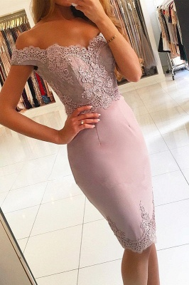 Elegant Off-the-Shoulder Short Prom Dress  Lace Mermaid Homecoming Dress_1