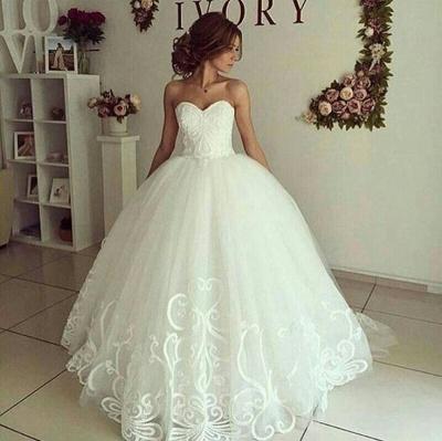 Sweetheart-Neck Appliques Cheap Online Elegant Ball Gown Wedding Dresses_3