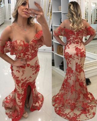Appliques Front-Split Red Mermaid Scoop Evening Dresses_2
