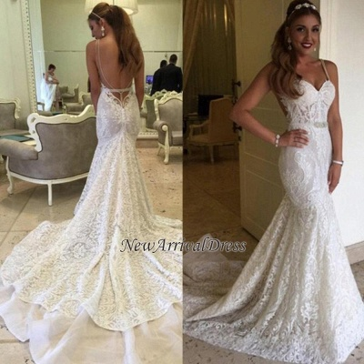 Backless Spaghetti Straps Elegant Mermaid Lace Wedding Dresses Cheap Online_1