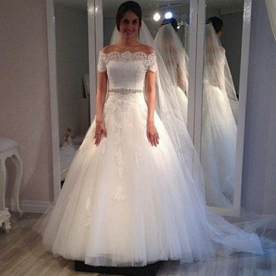 Off The Shoulder Sweep Train Lace Appliques A-line Short Sleeves Wedding Dresses_3