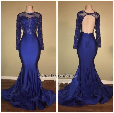 Royal Blue Beaded Long Sleeve Ruffles Skirt Mermaid Prom Dresses Cheap_1