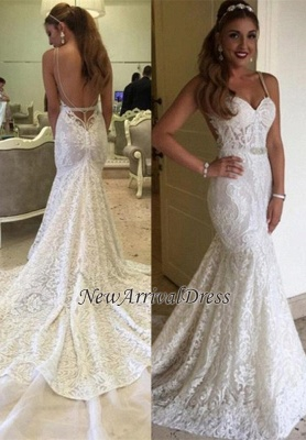 e7e6fe1f14e Backless Spaghetti-Straps Elegant Mermaid Lace Wedding Dresses
