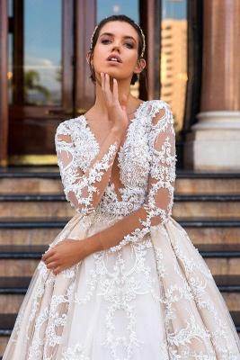 Princess Court Train Glamorous Lace Long Sleeve Wedding Dresses Cheap_2