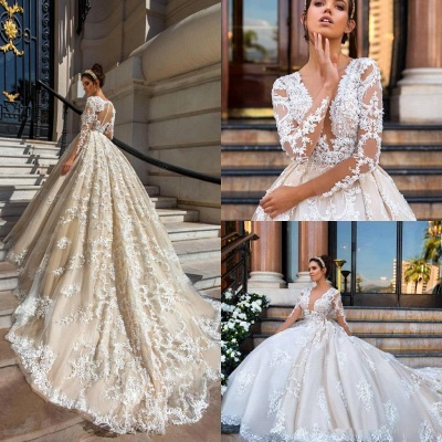 Princess Court Train Glamorous Lace Long Sleeve Wedding Dresses Cheap_5