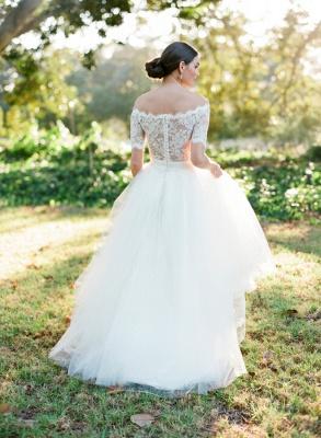 New Arrival Bateau Short Sleeve Lace Wedding Dresses A-Line Tulle Plus Size Bridal Gown_2