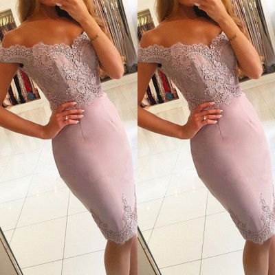 Elegant Off-the-Shoulder Short Prom Dress  Lace Mermaid Homecoming Dress_3
