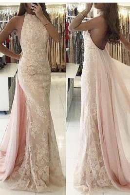 Newest Backless Tulle Halter Mermaid Applqiues Sweep-Train Evening Dress_2