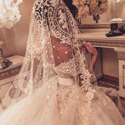 Off The Shoulder Beaded Lace Appliques Wedding Dresses Tulle Bride Dress with Bowknot Sash BA7646_4