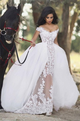 Off The Shoulder Sheer Lace Wedding Dresses Puffy Tulle Overskirt Sleeveless Bridal Gowns BA6040_1