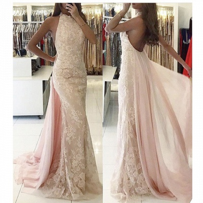 Newest Backless Tulle Halter Mermaid Applqiues Sweep-Train Evening Dress_3
