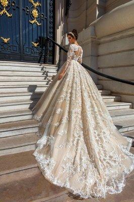 Princess Court Train Glamorous Lace Long Sleeve Wedding Dresses Cheap_3