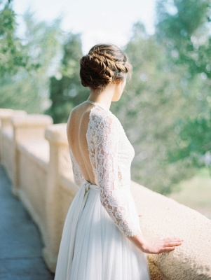 V-Neck Lace Long Sleeve Vintage Bridal Gown Latest Floor Length Custom Made Wedding Dress_3