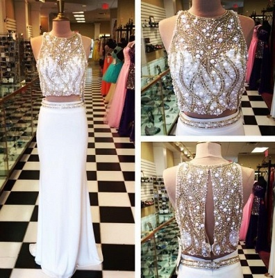 Two Piece White Luxury Beads Long Prom Dresses Cheap Halter Neck Sheath Evening Gowns_2
