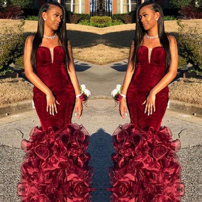 Strapless Mermaid Burgundy Velvet Prom Dresses | Long Ruffles Tulle Formal Dress Cheap_3