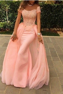 Pink Lace Short Sleeves Prom Dresses Off Shoulder Removable Train Evening Gowns_1