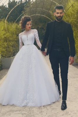 Long-Sleves Crystals Custom Made Elegant Tulle Wedding Dresses Cheap_2