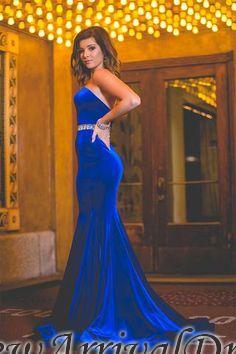 Backless Charming Mermaid Sweetheart Velvet Royal-Blue Crystals-Belt Prom Dress_3