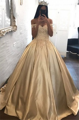 Off The Shoulder Champagne Gold Ball Gowns Formal Dress Appliques Quinceanera Dresses FB0212_1