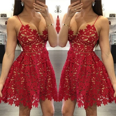 Sexy Red LaceHomecoming Dress Short Spaghetti Strap Party Gowns_3