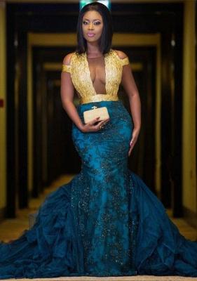 Modern Gold Lace Mermaid Beads Prom Dress   Long Prom Dress BK0 BA8385_1