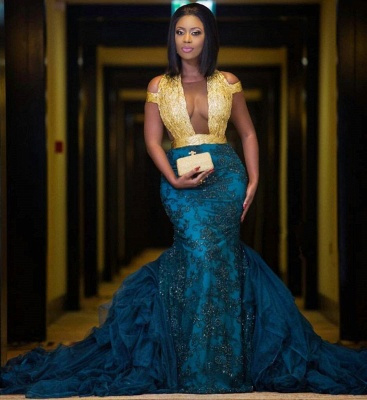 Modern Gold Lace Mermaid Beads Prom Dress   Long Prom Dress BK0 BA8385_3
