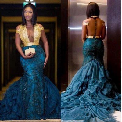 Modern Gold Lace Mermaid Beads Prom Dress   Long Prom Dress BK0 BA8385_4