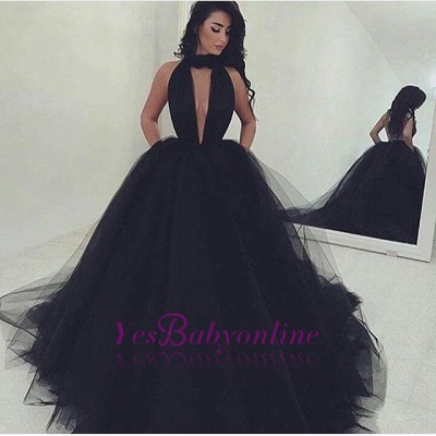 Black Ball Gown Prom Dresses Halter Neck Keyhole Neckline with Pockets Chic Evening Gowns_1