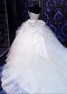 Gorgeous Ball Gown Wedding Dresses with Beads   Sexy Cheap Court Train Bridal Gowns with Bowknot_3