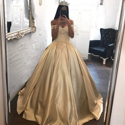 Off The Shoulder Champagne Gold Ball Gowns Formal Dress Appliques Quinceanera Dresses FB0212_4