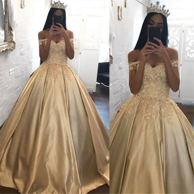 Off The Shoulder Champagne Gold Ball Gowns Formal Dress Appliques Quinceanera Dresses FB0212_3
