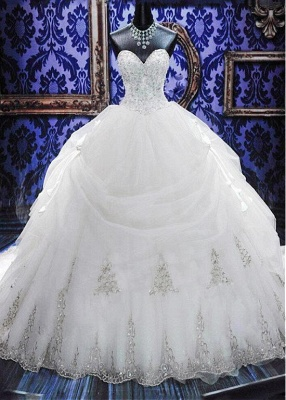 Gorgeous Ball Gown Wedding Dresses with Beads   Sexy Cheap Court Train Bridal Gowns with Bowknot_1