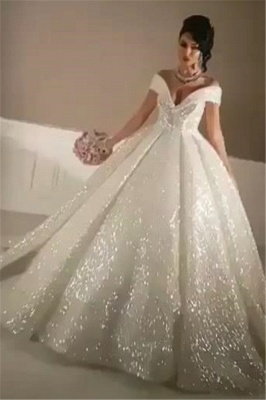 Sexy Off-the-Shoulder Open Back Wedding Dresses   Lace-Up Sequins Bridal Ball Gowns_1