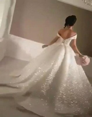 Sexy Off-the-Shoulder Open Back Wedding Dresses   Lace-Up Sequins Bridal Ball Gowns_3