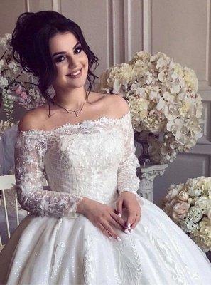 Robes de mariée glamour à manches longues à épaules dénudées   Robes de bal en dentelle Brial_3