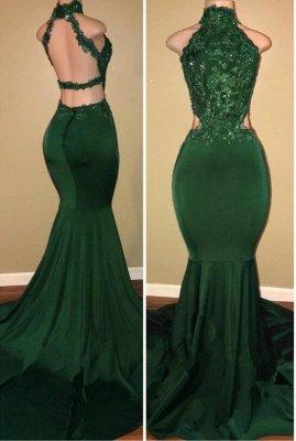 Sleeveless Open Back Mermaid Long Prom Dresses Cheap Plus Size   Lace Formal Dresses for Women_1
