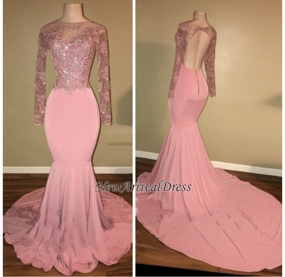 Open Back Long Sleeve Beaded Lace Appliques Pink Shiny Mermaid Prom Dresses Cheap_1
